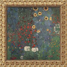 "The Garden by Gustav Klimt, Framed Canvas Art - 19.5"" x 19.5"""