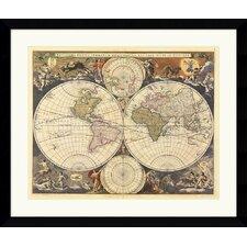'New World Map, 17th Century' by Ria Visscher Framed Graphic Art