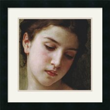 "<strong>Amanti Art</strong> Head Study of a Young Girl (detail)  by William Adolphe Bouguereau Framed Fine Art Print - 18"" x 18"""