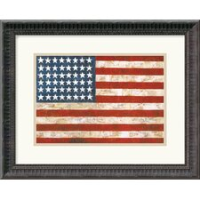 "<strong>Amanti Art</strong> Flag, 1954-55 by Jasper Johns Framed Fine Art Print - 14.18"" x 17.81"""
