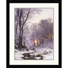 "<strong>Amanti Art</strong> A Twilit Wooded River in the Snow by Anders Anderson-Lundby Framed Fine Art Print - 35.99"" x 29.62"""
