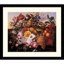 "<strong>Amanti Art</strong> Still Life with Flowers by Joseph Goblet  Framed Fine Art Print - 31.62"" x 36.62"""