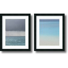 'Bleu' by Brian Leighton 2 Piece Framed Painting Print Set