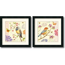 'Birds and Bees' by Daphne Brissonnet 2 Piece Framed Graphic Art Set