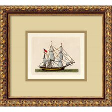 <strong>Amanti Art</strong> Full Sail (Union Jack) Italian Engraving Framed Print