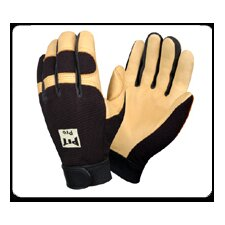 Pit Pro Mechanics Style Premium Deerskin Leather Gloves in Black - Large