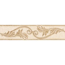 "Carriage House 8"" x 2"" Floral Decorative Border in Glazed Straw/Saddle/Buckskin"