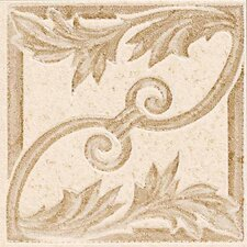"Carriage House 2"" x 2"" Floral Decorative Insert in Glazed Straw/Saddle/Buckskin"