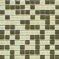 "Legacy Glass 1"" x 1"" Glazed Wall Mosaic in Green Blend"