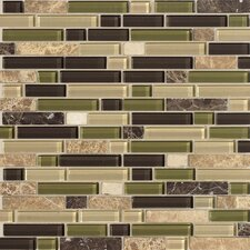 "Legacy Glass 12"" x 12"" Glazed Random Linear Glass and Stone Mosaic in Jungle Blend"