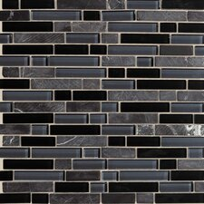 "Legacy Glass 12"" x 12"" Glazed Random Linear Glass and Stone Mosaic in Mountain Blend"
