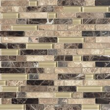 "Legacy Glass Random Sized 5/9"" x 5/9"" Glass and Stone Glazed Mosaic in Tannery Blend"