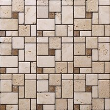 "<strong>StoneSkin</strong> Traditional Mini 12"" x 12"" Versailles Mosaic in Beige with Noce Dot"