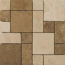 "Natural Stone 12"" x 12"" Travertine Mini Versailles Mosaic in Beige / Mocha"