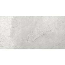 "St Moritz 12"" x 24"" Glazed Floor Porcelain Tile in Silver"