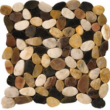 "Natural Stone 12"" x 12"" Flat Rivera Pebble Mosaic in 4 Color Blend"