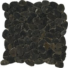 "Natural Stone 12"" x 12"" Flat Rivera Pebble Mosaic in Black"
