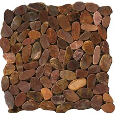 Natural Stone Random Sized Flat Rivera Pebble Mosaic in Terra Cotta