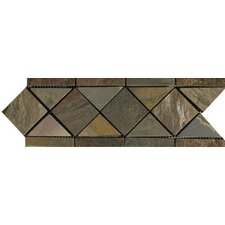 "Natural Stone 11"" x 4"" Slate Border 14 Listello in Multicolor"