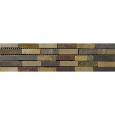 "<strong>Emser Tile</strong> Natural Stone 12"" x 4"" Slate Border 23 Listello in Multicolor"