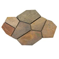 Natural Stone Random Sized Slate Flagstone Pattern Tile in Multi Rajah