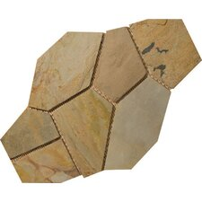 Natural Stone Random Sized Slate Flagstone Pattern Tile in Autumn Lilac