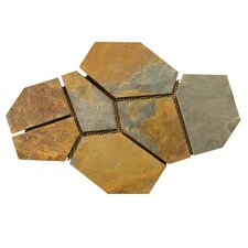 "Natural Stone 20"" x 30"" Slate Flagstone Pattern Tile in Earth"