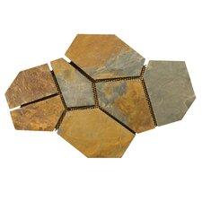 Natural Stone Random Sized Slate Flagstone Pattern Tile in Earth