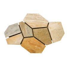 Natural Stone Random Sized Slate Flagstone Pattern Tile in Golden Sand