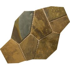 Natural Stone Random Sized Slate Flagstone Pattern Tile in Rustic Gold