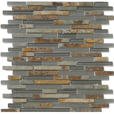Lucente Linear Random Sized Stone and Glass Unpolished Mosaic in Romano
