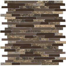 "Lucente 13"" x 13"" Stone and Glass Linear Mosaic Blend in Vetro"