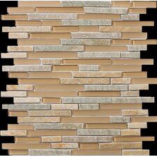 "Lucente 13"" x 13"" Stone and Glass Linear Mosaic Blend in Putini"