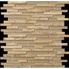 "Lucente 13"" x 13"" Stone and Glass Linear Mosaic Blend in Regale"