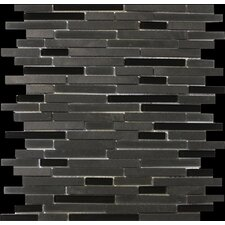 "<strong>Emser Tile</strong> Lucente 13"" x 13"" Stone and Glass Linear Mosaic Blend in Zanfirico"
