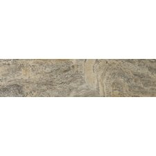 "Natural Stone 6"" x 24"" Vein Cut Travertine Plank Tile in Silver"