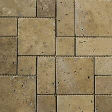 "Natural Stone 12"" x 12"" Travertine Mini Versailles Mosaic in Mocha"