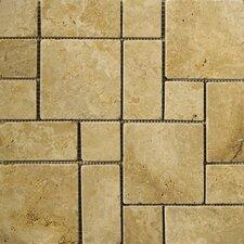 Natural Stone Random Sized Travertine Mini Versailles Mosaic in Oro