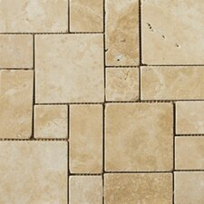 Natural Stone Random Sized Travertine Mini Versailles Mosaic in Beige
