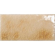"Cape Cod 3"" x 6"" Double Fire Glazed Ceramic Wall Tile in Antique Beige Crackle"