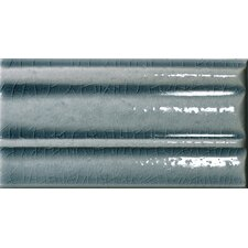 "<strong>Emser Tile</strong> Cape Cod 9"" x 5"" Crown Base Molding Stop Right Tile Trim in Ocean Blue Crackle"