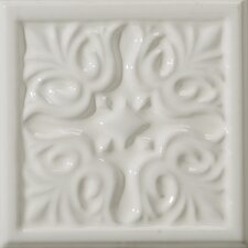 "Classica 6"" x 6"" Floral  Accent Tile in White"