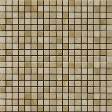 "Natural Stone 12"" x 12"" Polished Marble Mosaic in Crema Marfil/Emperador Light"