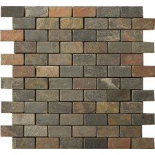 "Natural Stone Brick Joint 2"" x 1"" Slate Unpolished Mosaic in Multi Rajah"