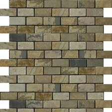 "Natural Stone 12"" x 12"" Slate Brick-Joint Mosaic in Autumn Lilac"