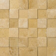 "Natural Stone 2"" x 2"" 3D Travertine Mosaic in Oro"