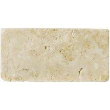"Natural Stone 3"" x 6"" Unfilled and Tumbled Travertine Tile in Ancient Beige"