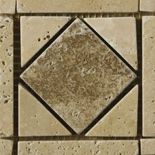 "Natural Stone 4"" x 4"" Caldera Tumbled Travertine Listello Corner"