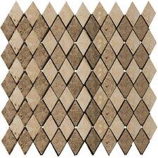 Natural Stone Tumbled Travertine Rhomboid Mosaic in Beige / Mocha