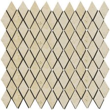 "<strong>Emser Tile</strong> Natural Stone 12"" x 12"" Tumbled Travertine Rhomboid Mosaic in Ancient Beige"